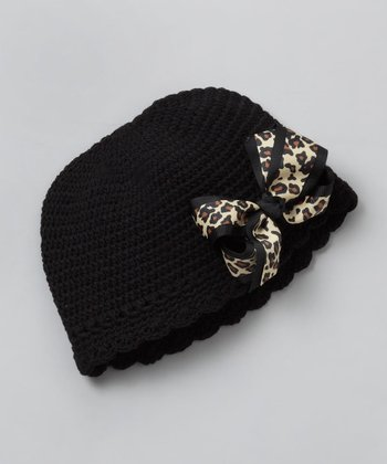 Black Bow Flapper Beanie - Toddler