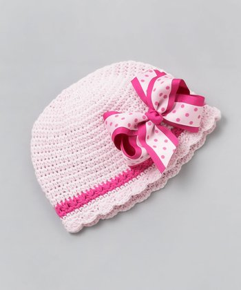 Light Pink Bow Flapper Beanie - Infant & Toddler