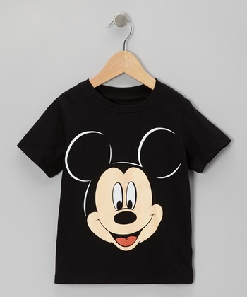 Black Mickey Mouse Face Tee - Infant