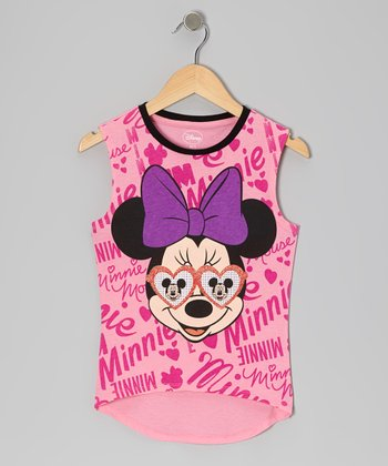 Hot Pink Sunglasses Minnie Tank - Girls