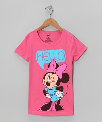 Hot Pink 'Hello' Minnie Tee - Girls