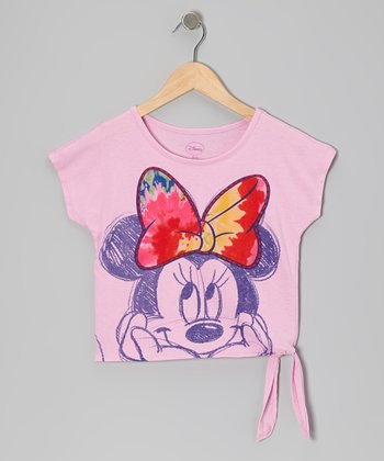 Pink Minnie Bow Tee - Girls