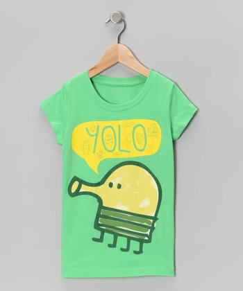 Green 'YOLO' Tee - Girls