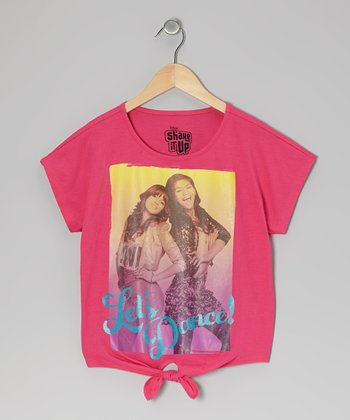 Hot Pink 'Let's Dance' Front-Tie Tee - Girls