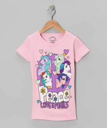 Light Pink 'Peace Love & Ponies' Tee - Girls