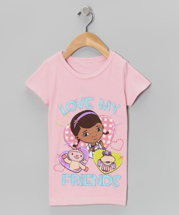 Pink 'Love My Friends' Tee - Girls