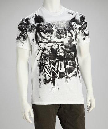 White & Black WWE Montage Tee - Men