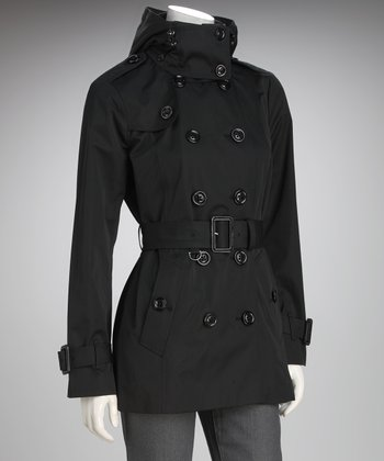 London Fog Black Heritage Hooded Trench Coat