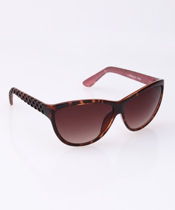 Tortoise Diamond Etched Cat-Eye Sunglasses