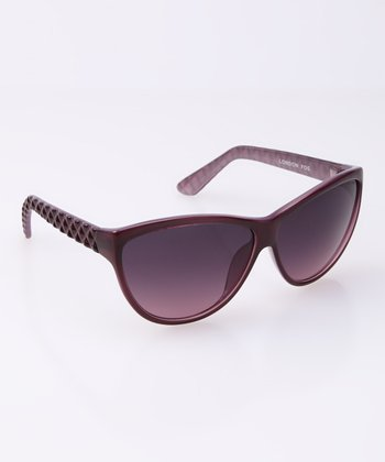 Purple Diamond Etched Cat-Eye Sunglasses