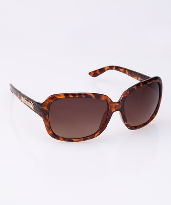 Tortoise Gilded Detail Rectangle Sunglasses