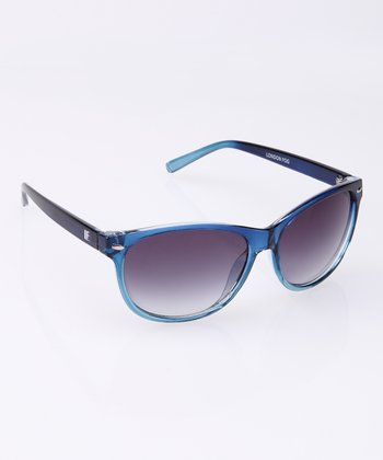 Navy Logo Temple Sunglasses