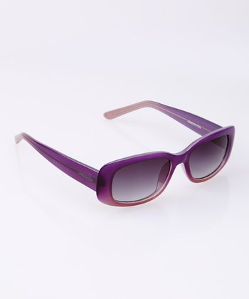 Purple Fade Flare Rectangle Sunglasses
