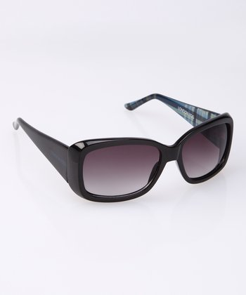 Black Plaid Wide Arm Sunglasses