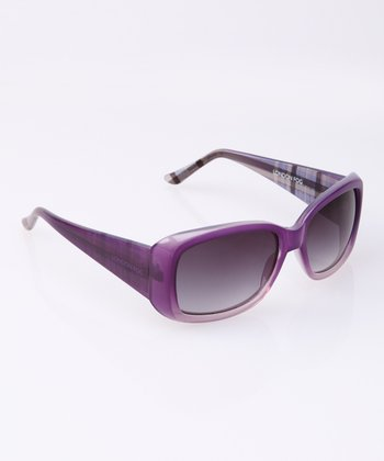 Purple Plaid Wide Arm Sunglasses