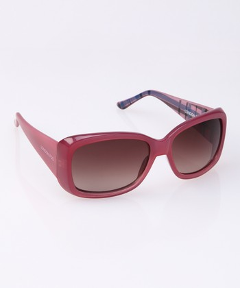 Rose Plaid Wide Arm Sunglasses