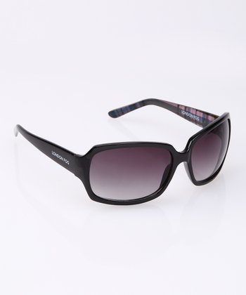 Black Plaid Arm Sunglasses