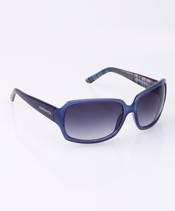 Milky Navy Plaid Fade Sunglasses