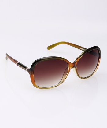 Olive Crystal Fade Butterfly Sunglasses