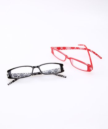 Black & Red Reading Glasses Set