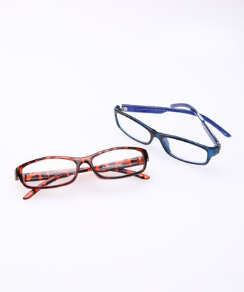 Tortoise & Blue Crystal Reading Glasses Set