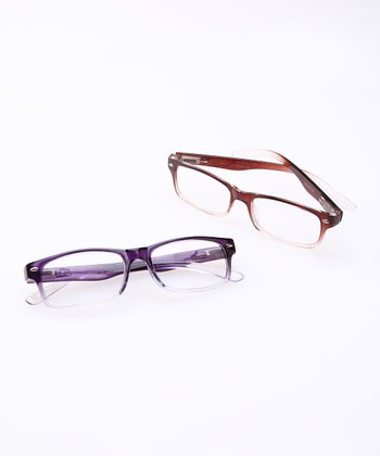 Brown & Purple Clear Fade Reading Glasses Set