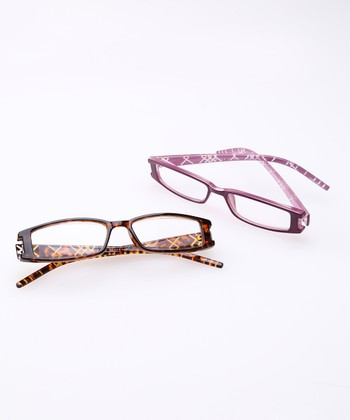 Tortoise & Purple Reading Glasses Set