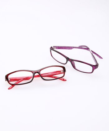 Red Crystal & Purple Reading Glasses Set