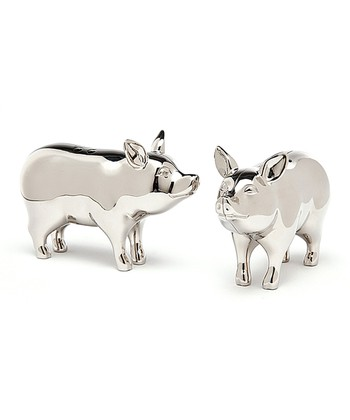 Silver Pig Salt & Pepper Shakers