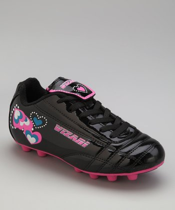 Black & Pink Retro Heart Cleat - Kids