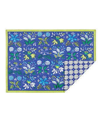 Navy Botanical Place Mat - Set of Four