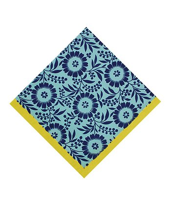 Aqua & Yellow Colette Tonal Floral Napkin - Set of Four