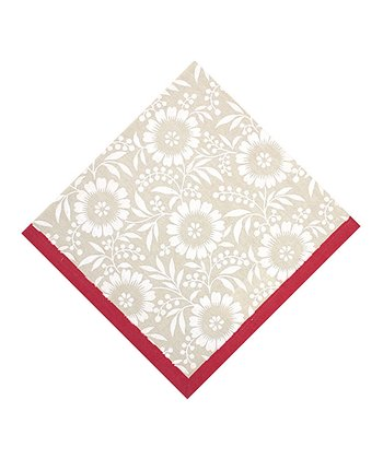 Flax & Red Colette Tonal Floral Napkin - Set of Four