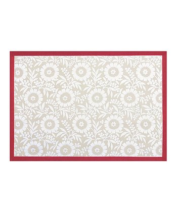 Flax & Red Colette Quilted Place Mat - Set of Four