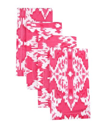 Hot Pink Ikat Napkin - Set of Four
