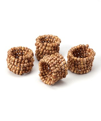 Wooden Bead Napkin Ring - Set of Four