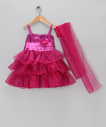 Raspberry Sequin Tiered Dress & Shawl - Toddler & Girls