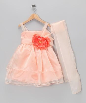 Cinderella Couture Peach Flower Dress & Shawl - Toddler & Girls