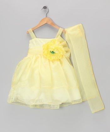 Cinderella Couture Yellow Flower Dress & Shawl - Toddler & Girls