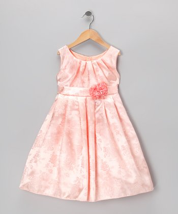 Peach Rose Dress - Toddler & Girls
