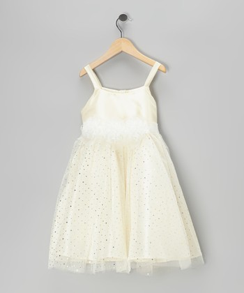 Cinderella Couture Ivory Glitter Triple Rosette Dress - Infant, Toddler & Girls
