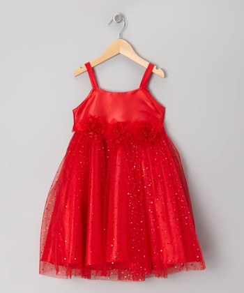 Red Glitter Triple Rosette Dress - Infant, Toddler & Girls