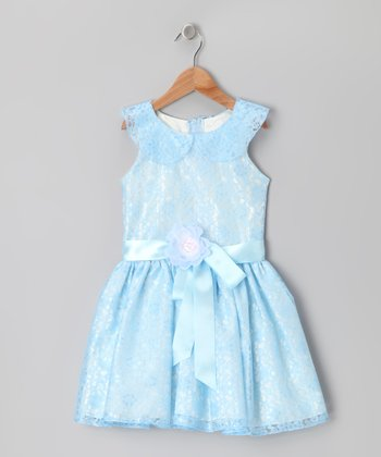 Blue & White Lace Dress - Toddler & Girls