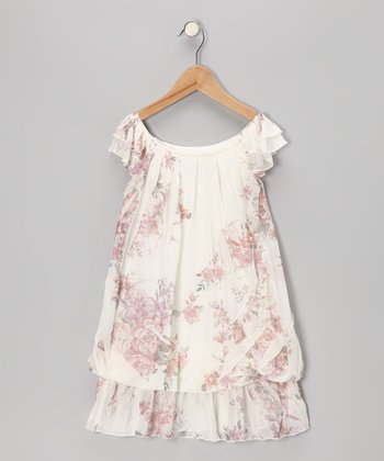 White Rose Flutter-Sleeve Dress - Toddler & Girls