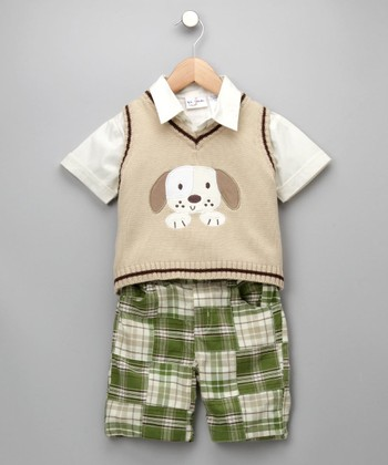 Khaki Puppy Shorts Set - Infant
