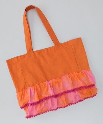Orange & Pink Ruffle Tote
