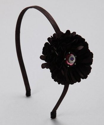 Black Button Flower Headband