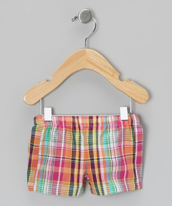Pink & Orange Plaid Shorts - Infant