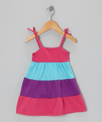 Fuchsia & Purple Color Block Dress - Infant