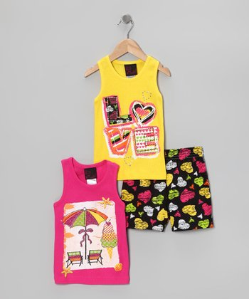 Yellow & Pink 'Love' Tank Set - Infant, Toddler & Girls